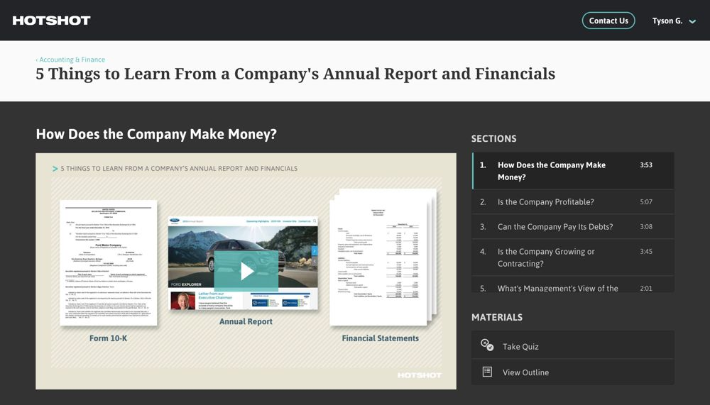 screenshot of the Hotshot app, showing the course 5 Things to Learn from a Company's Annual Report and Financials; the current playable video section is How Does the Company Make Money?